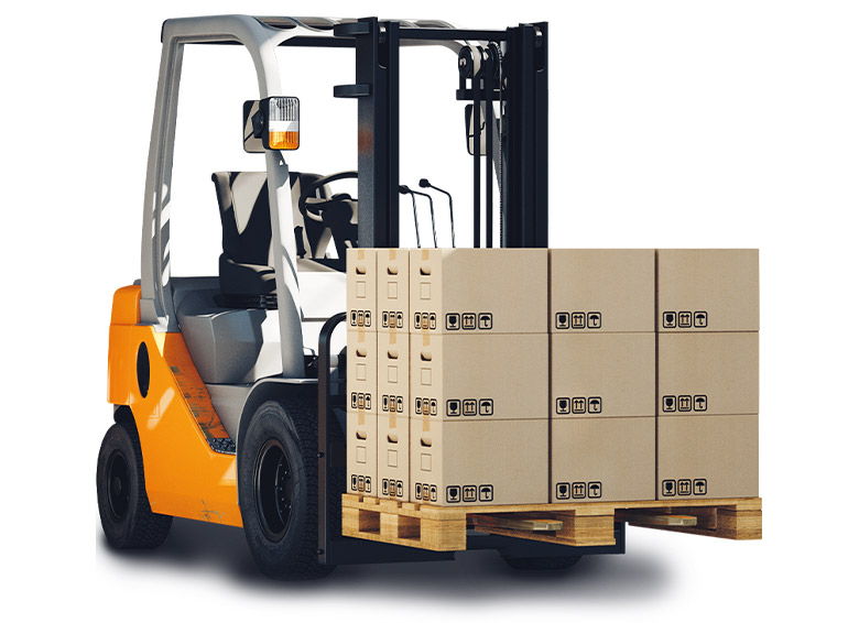 Forklift with boxes stacked